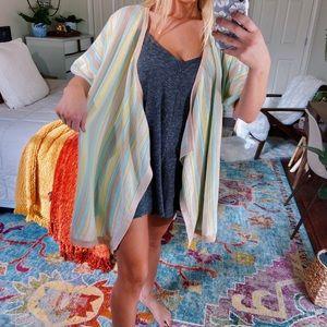 cozy pastel striped knitted kimono